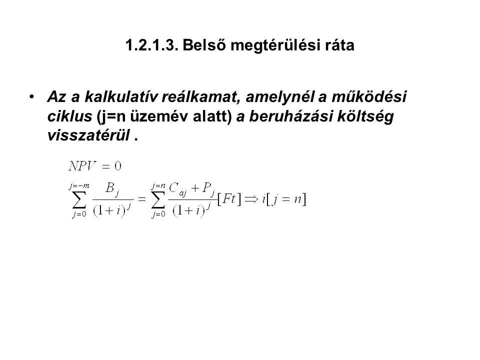 1.2.1.3. Belső megtérülési ráta Az a kalkulatív reálkamat, amelynél a működési ciklus (j=n üzemév alatt) a beruházási költség visszatérül.