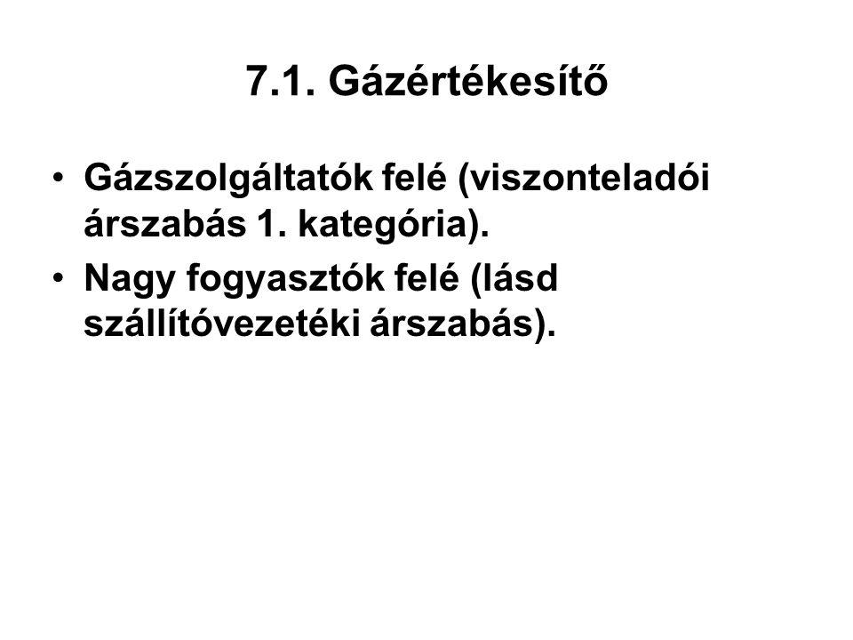 7.1. Gázértékesítő Gázszolgáltatók felé (viszonteladói árszabás 1. kategória). Nagy fogyasztók felé (lásd szállítóvezetéki árszabás).