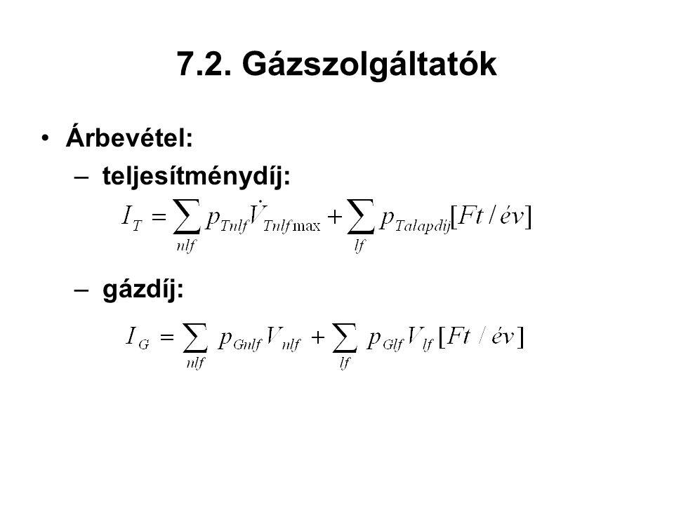 7.2. Gázszolgáltatók Árbevétel: – teljesítménydíj: – gázdíj: