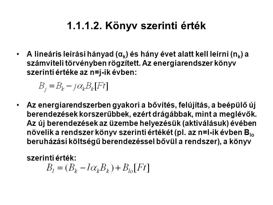1.1.1.2. Könyv szerinti érték A lineáris leírási hányad (α k ) és hány évet alatt kell leírni (n k ) a számviteli törvényben rögzített. Az energiarend