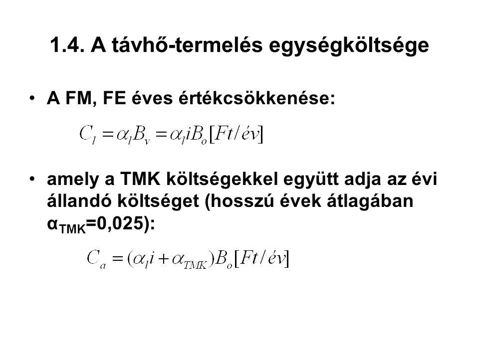 1.4. A távhő-termelés egységköltsége A FM, FE éves értékcsökkenése: amely a TMK költségekkel együtt adja az évi állandó költséget (hosszú évek átlagáb
