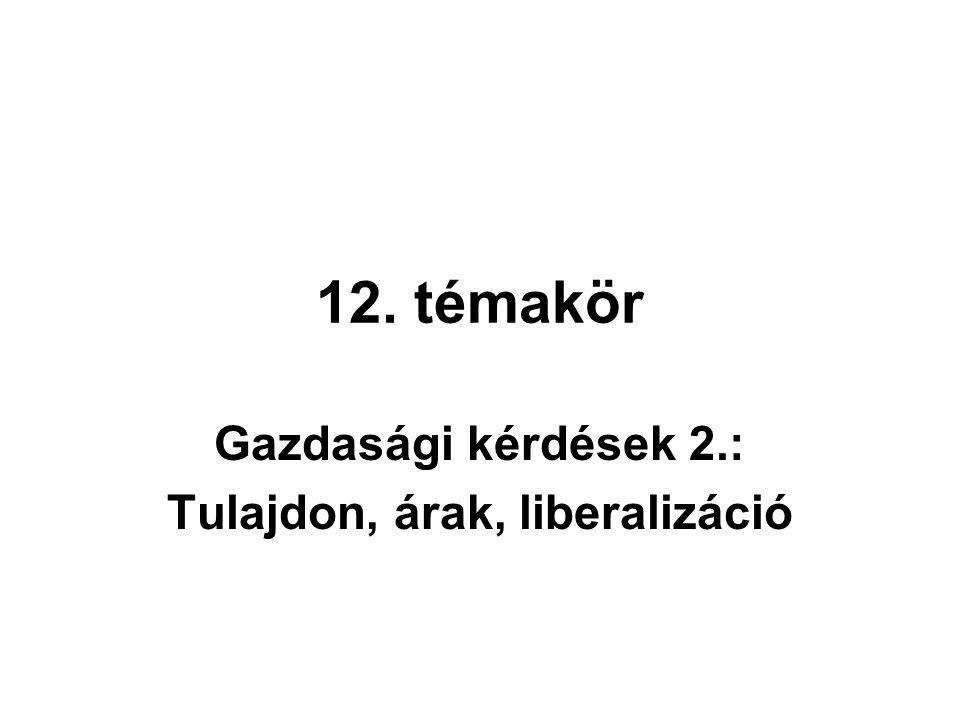 12. témakör Gazdasági kérdések 2.: Tulajdon, árak, liberalizáció