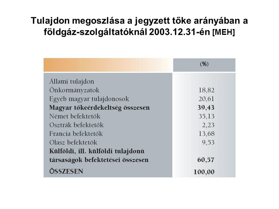 Tulajdon megoszlása a jegyzett tőke arányában a földgáz-szolgáltatóknál 2003.12.31-én [MEH]