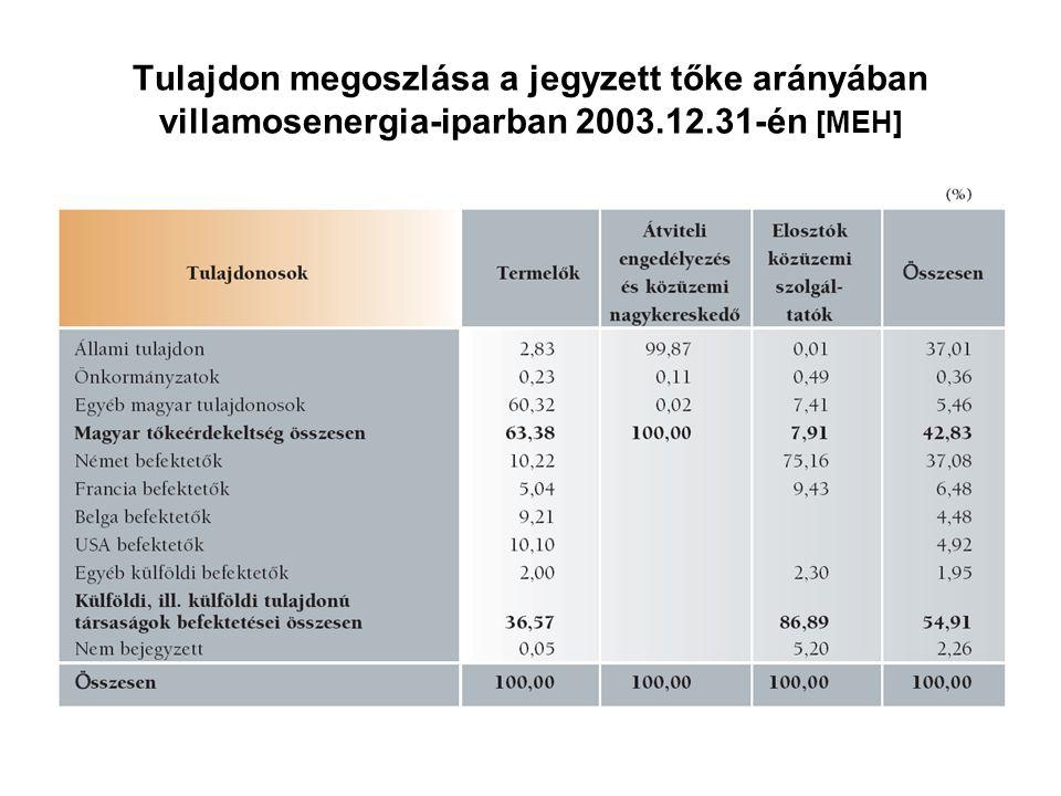 Tulajdon megoszlása a jegyzett tőke arányában villamosenergia-iparban 2003.12.31-én [MEH]