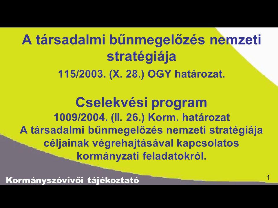 Kormányszóvivői tájékoztató 1 A társadalmi bűnmegelőzés nemzeti stratégiája 115/2003. (X. 28.) OGY határozat. Cselekvési program 1009/2004. (II. 26.)