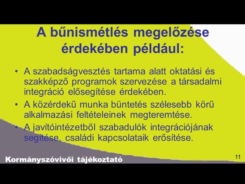 Kormányszóvivői tájékoztató 11 A bűnismétlés megelőzése érdekében például: A szabadságvesztés tartama alatt oktatási és szakképző programok szervezése a társadalmi integráció elősegítése érdekében.