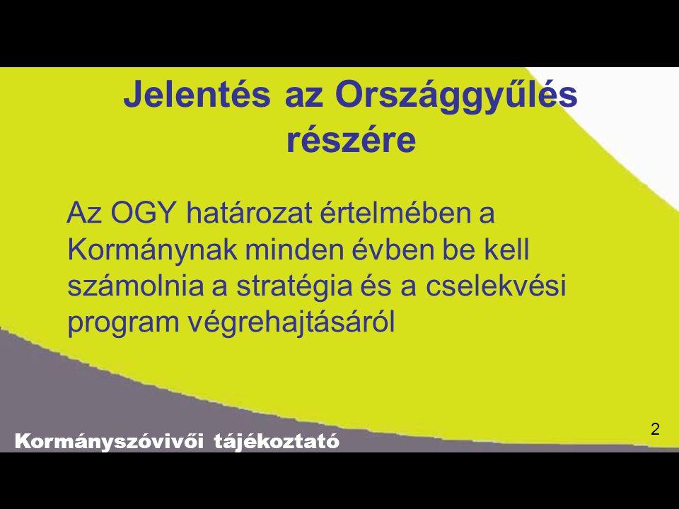 Kormányszóvivői tájékoztató 2 Jelentés az Országgyűlés részére Az OGY határozat értelmében a Kormánynak minden évben be kell számolnia a stratégia és