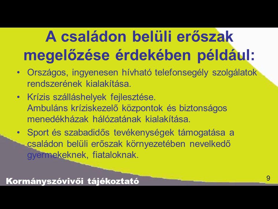 Kormányszóvivői tájékoztató 9 9 A családon belüli erőszak megelőzése érdekében például: Országos, ingyenesen hívható telefonsegély szolgálatok rendszerének kialakítása.