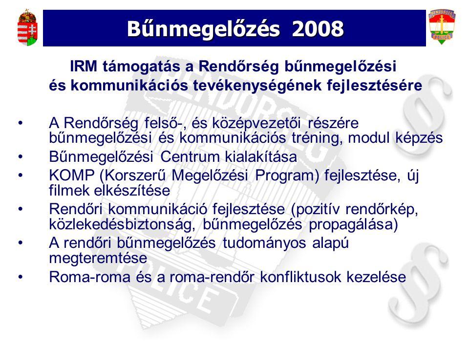Bűnmegelőzés 2008 IRM támogatás a Rendőrség bűnmegelőzési és kommunikációs tevékenységének fejlesztésére A Rendőrség felső-, és középvezetői részére bűnmegelőzési és kommunikációs tréning, modul képzés Bűnmegelőzési Centrum kialakítása KOMP (Korszerű Megelőzési Program) fejlesztése, új filmek elkészítése Rendőri kommunikáció fejlesztése (pozitív rendőrkép, közlekedésbiztonság, bűnmegelőzés propagálása) A rendőri bűnmegelőzés tudományos alapú megteremtése Roma-roma és a roma-rendőr konfliktusok kezelése