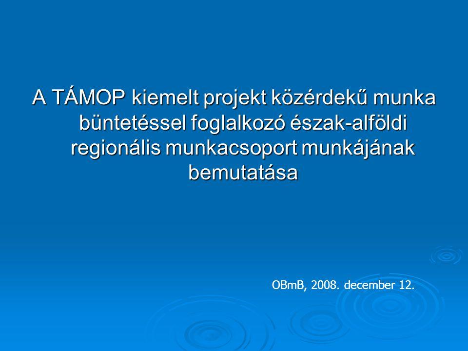A TÁMOP kiemelt projekt közérdekű munka büntetéssel foglalkozó észak-alföldi regionális munkacsoport munkájának bemutatása OBmB, 2008. december 12.
