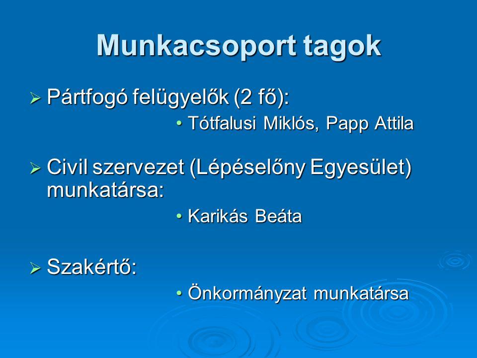 Munkacsoport tagok  Pártfogó felügyelők (2 fő): Tótfalusi Miklós, Papp AttilaTótfalusi Miklós, Papp Attila  Civil szervezet (Lépéselőny Egyesület) m