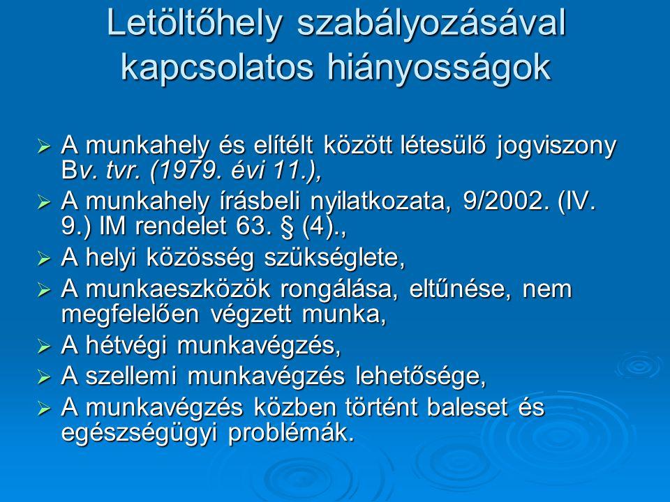 Letöltőhely szabályozásával kapcsolatos hiányosságok  A munkahely és elítélt között létesülő jogviszony Bv. tvr. (1979. évi 11.),  A munkahely írásb