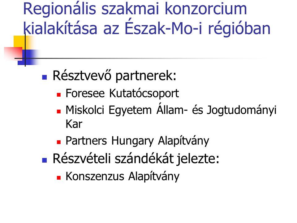 Regionális szakmai konzorcium kialakítása az Észak-Mo-i régióban Résztvevő partnerek: Foresee Kutatócsoport Miskolci Egyetem Állam- és Jogtudományi Kar Partners Hungary Alapítvány Részvételi szándékát jelezte: Konszenzus Alapítvány