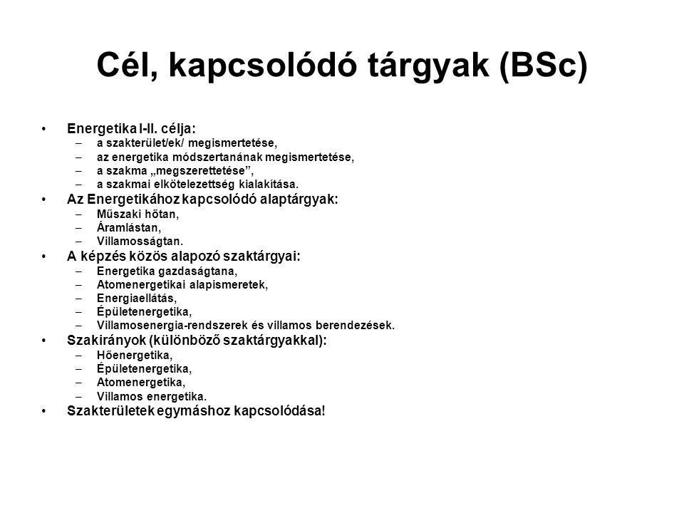 Cél, kapcsolódó tárgyak (BSc) Energetika I-II.