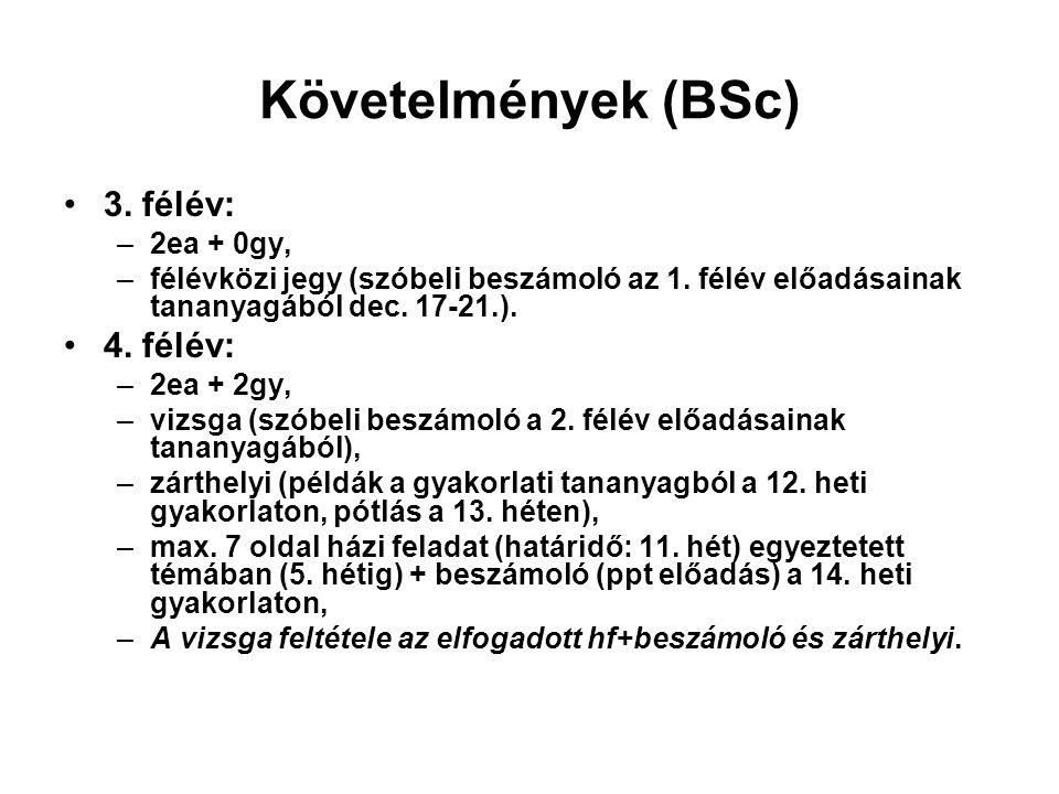Követelmények (BSc) 3. félév: –2ea + 0gy, –félévközi jegy (szóbeli beszámoló az 1.