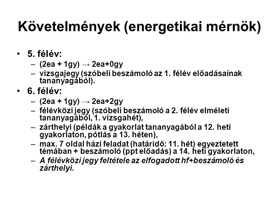 Követelmények (energetikai mérnök) 5.