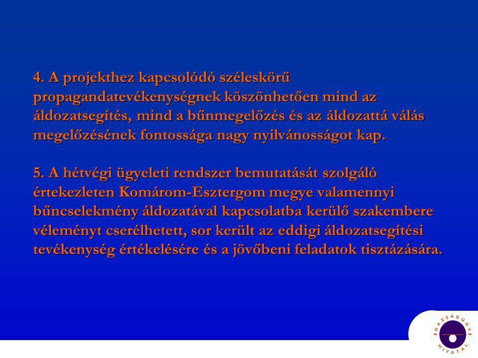 4. A projekthez kapcsolódó széleskörű propagandatevékenységnek köszönhetően mind az áldozatsegítés, mind a bűnmegelőzés és az áldozattá válás megelőzé