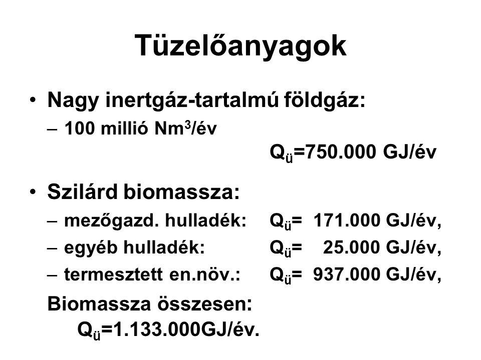 Tüzelőanyagok Nagy inertgáz-tartalmú földgáz: –100 millió Nm 3 /év Q ü =750.000 GJ/év Szilárd biomassza: –mezőgazd. hulladék: Q ü = 171.000 GJ/év, –eg