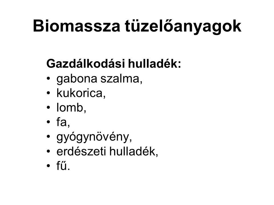 Biomassza tüzelőanyagok Gazdálkodási hulladék: gabona szalma, kukorica, lomb, fa, gyógynövény, erdészeti hulladék, fű.