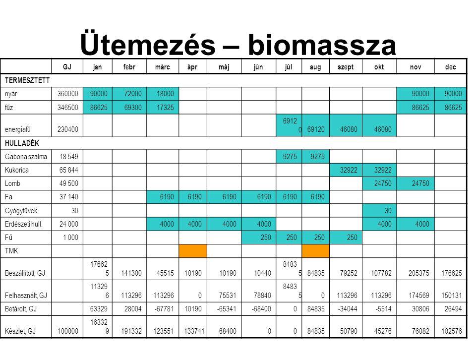 Ütemezés – biomassza GJjanfebrmárcáprmájjúnjúlaugszeptoktnovdec TERMESZTETT nyár36000090000720001800090000 fűz34650086625693001732586625 energiafű2304