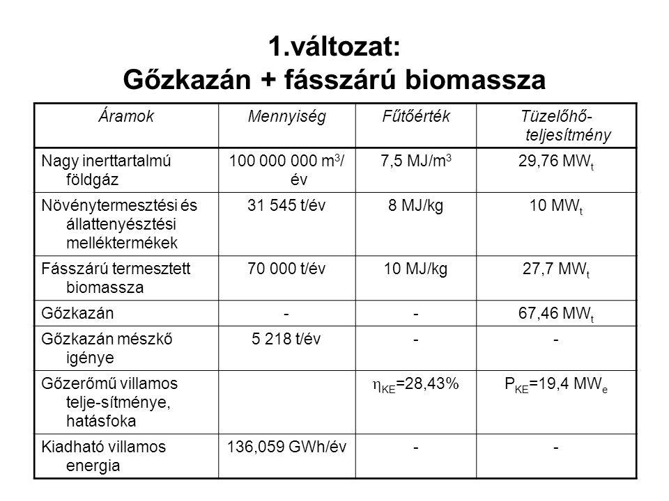 ÁramokMennyiségFűtőértékTüzelőhő- teljesítmény Nagy inerttartalmú földgáz 100 000 000 m 3 / év 7,5 MJ/m 3 29,76 MW t Növénytermesztési és állattenyész