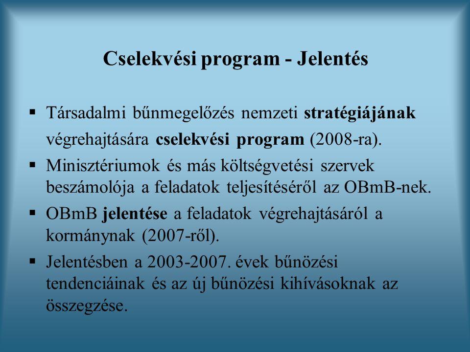 Cselekvési program - Jelentés  Társadalmi bűnmegelőzés nemzeti stratégiájának végrehajtására cselekvési program (2008-ra).  Minisztériumok és más kö