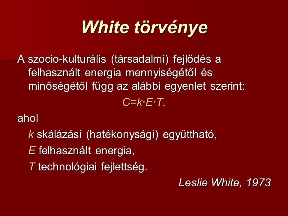 White törvénye A szocio-kulturális (társadalmi) fejlődés a felhasznált energia mennyiségétől és minőségétől függ az alábbi egyenlet szerint: C=k∙E∙T, ahol k skálázási (hatékonysági) együttható, E felhasznált energia, T technológiai fejlettség.
