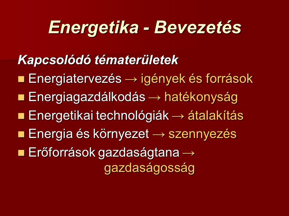 Energetika - Bevezetés Kapcsolódó tématerületek Energiatervezés → igények és források Energiatervezés → igények és források Energiagazdálkodás → hatékonyság Energiagazdálkodás → hatékonyság Energetikai technológiák → átalakítás Energetikai technológiák → átalakítás Energia és környezet → szennyezés Energia és környezet → szennyezés Erőforrások gazdaságtana → gazdaságosság Erőforrások gazdaságtana → gazdaságosság