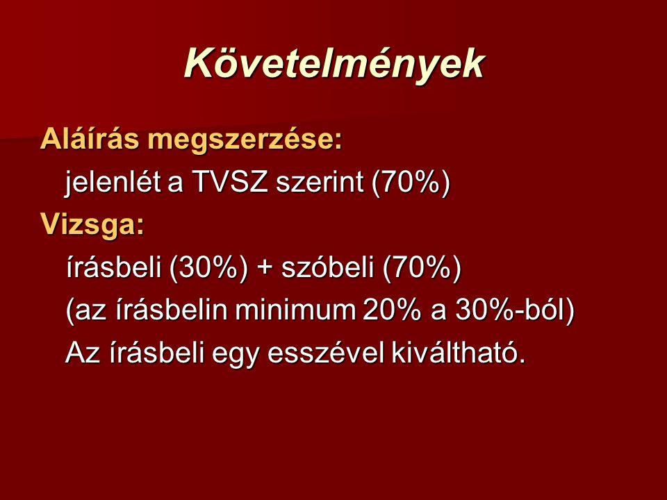 Követelmények Aláírás megszerzése: jelenlét a TVSZ szerint (70%) Vizsga: írásbeli (30%) + szóbeli (70%) (az írásbelin minimum 20% a 30%-ból) Az írásbeli egy esszével kiváltható.