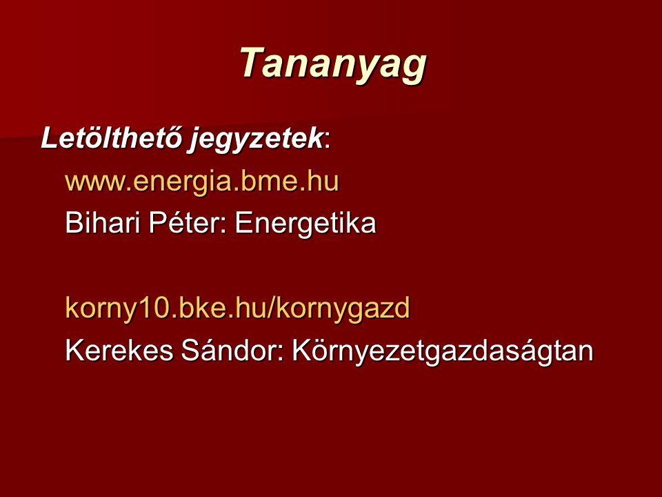 Tananyag Letölthető jegyzetek: www.energia.bme.hu Bihari Péter: Energetika korny10.bke.hu/kornygazd Kerekes Sándor: Környezetgazdaságtan