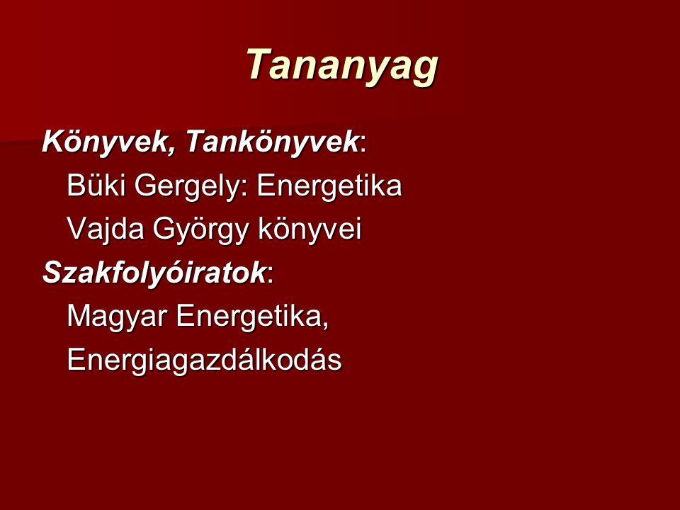 Tananyag Könyvek, Tankönyvek: Büki Gergely: Energetika Vajda György könyvei Szakfolyóiratok: Magyar Energetika, Energiagazdálkodás