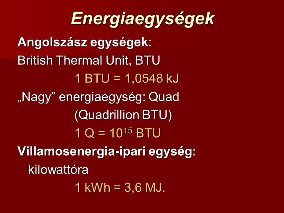 """Energiaegységek Angolszász egységek: British Thermal Unit, BTU 1 BTU = 1,0548 kJ """"Nagy energiaegység: Quad (Quadrillion BTU) 1 Q = 10 15 BTU Villamosenergia-ipari egység: kilowattóra 1 kWh = 3,6 MJ."""