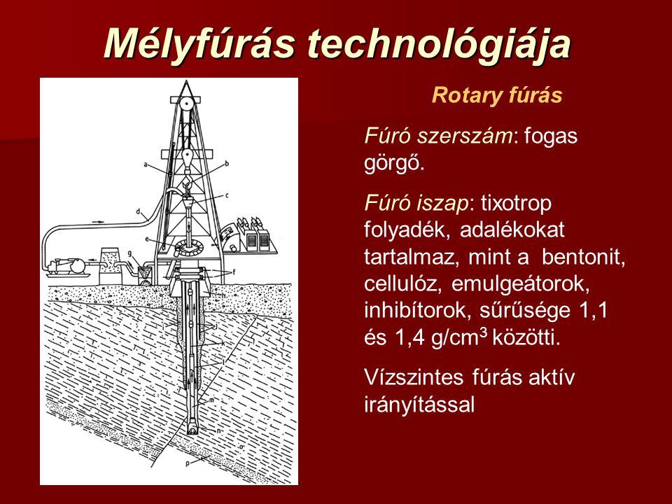 Mélyfúrás technológiája Rotary fúrás Fúró szerszám: fogas görgő. Fúró iszap: tixotrop folyadék, adalékokat tartalmaz, mint a bentonit, cellulóz, emulg