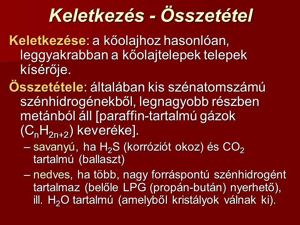 Keletkezés - Összetétel Keletkezése: a kőolajhoz hasonlóan, leggyakrabban a kőolajtelepek telepek kísérője. Összetétele: általában kis szénatomszámú s