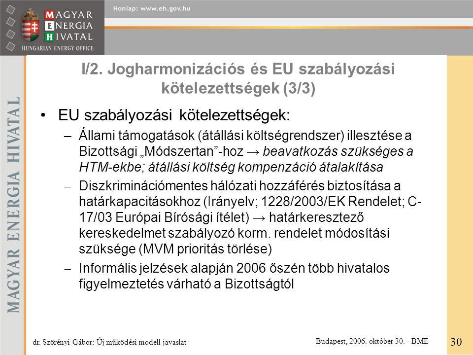 I/2. Jogharmonizációs és EU szabályozási kötelezettségek (3/3) EU szabályozási kötelezettségek: –Állami támogatások (átállási költségrendszer) illeszt