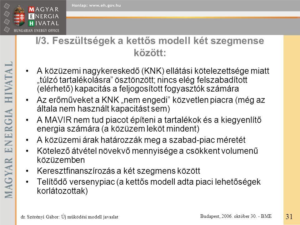 """I/3. Feszültségek a kettős modell két szegmense között: A közüzemi nagykereskedő (KNK) ellátási kötelezettsége miatt """"túlzó tartalékolásra"""" ösztönzött"""