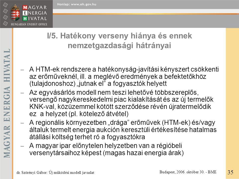I/5. Hatékony verseny hiánya és ennek nemzetgazdasági hátrányai  A HTM-ek rendszere a hatékonyság-javítási kényszert csökkenti az erőműveknél, ill. a