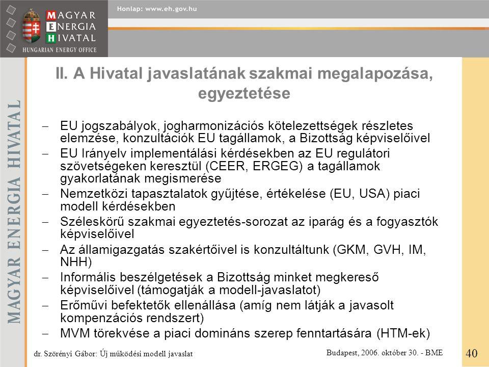 II. A Hivatal javaslatának szakmai megalapozása, egyeztetése  EU jogszabályok, jogharmonizációs kötelezettségek részletes elemzése, konzultációk EU t