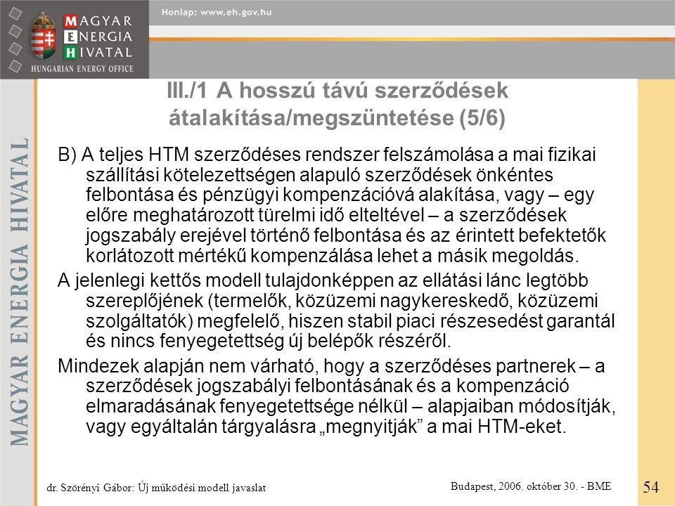 III./1 A hosszú távú szerződések átalakítása/megszüntetése (5/6) B) A teljes HTM szerződéses rendszer felszámolása a mai fizikai szállítási kötelezett