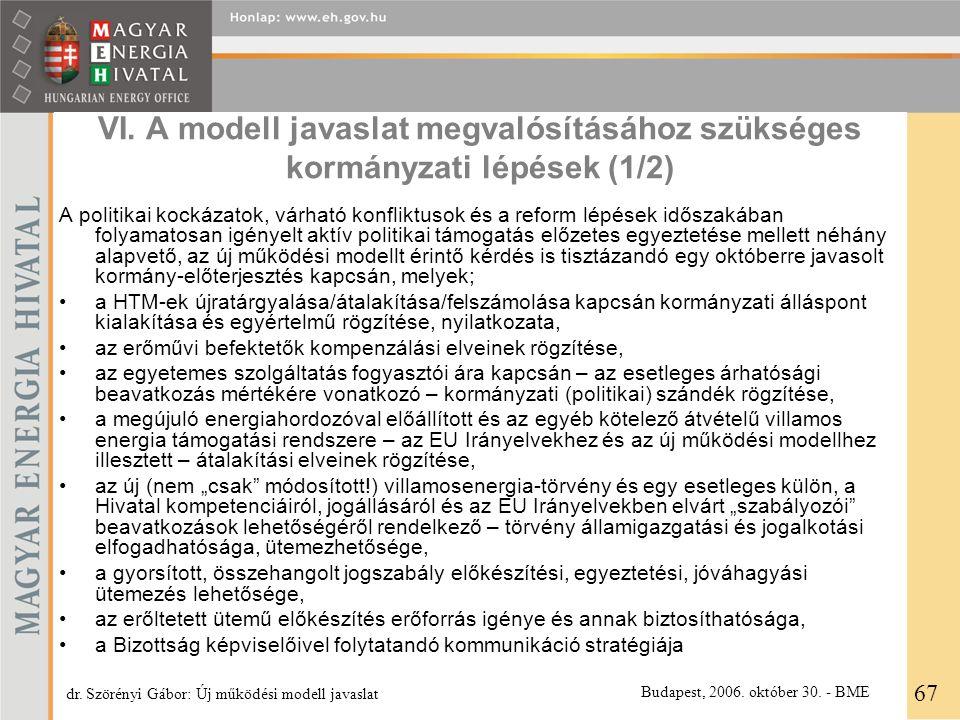 VI. A modell javaslat megvalósításához szükséges kormányzati lépések (1/2) A politikai kockázatok, várható konfliktusok és a reform lépések időszakába