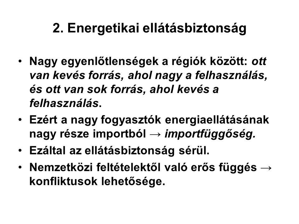 2. Energetikai ellátásbiztonság Nagy egyenlőtlenségek a régiók között: ott van kevés forrás, ahol nagy a felhasználás, és ott van sok forrás, ahol kev