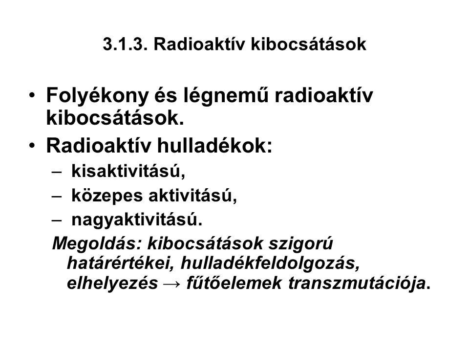 3.1.3. Radioaktív kibocsátások Folyékony és légnemű radioaktív kibocsátások.
