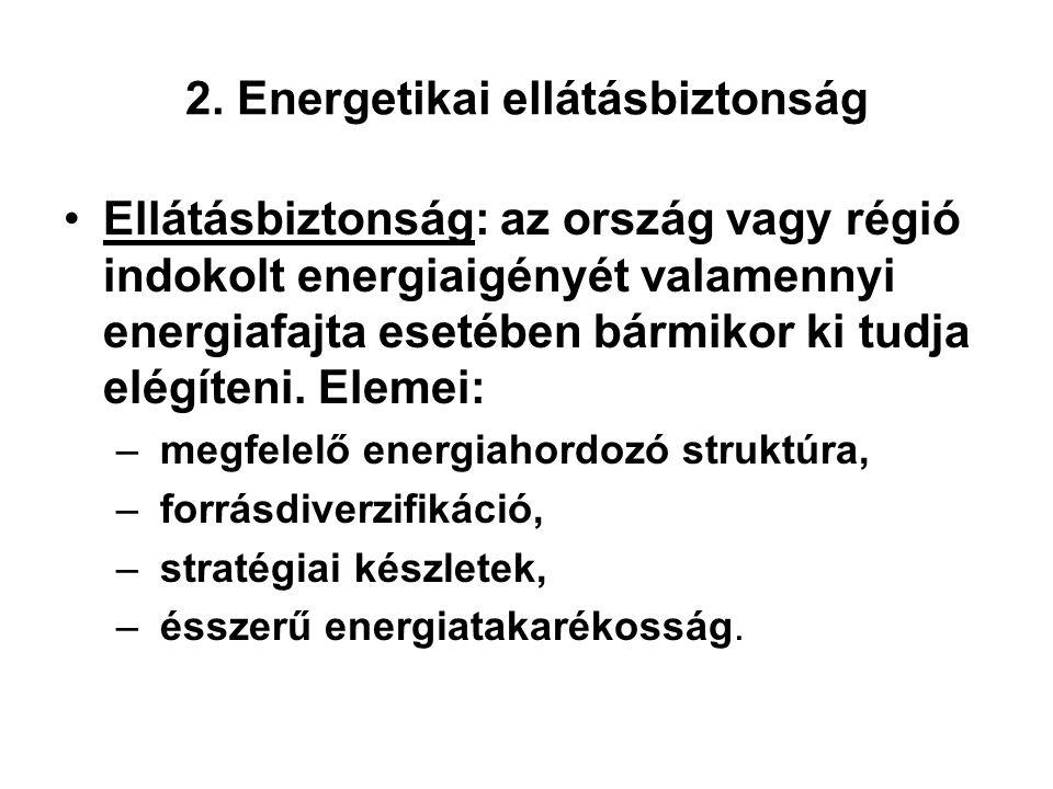 2. Energetikai ellátásbiztonság Ellátásbiztonság: az ország vagy régió indokolt energiaigényét valamennyi energiafajta esetében bármikor ki tudja elég