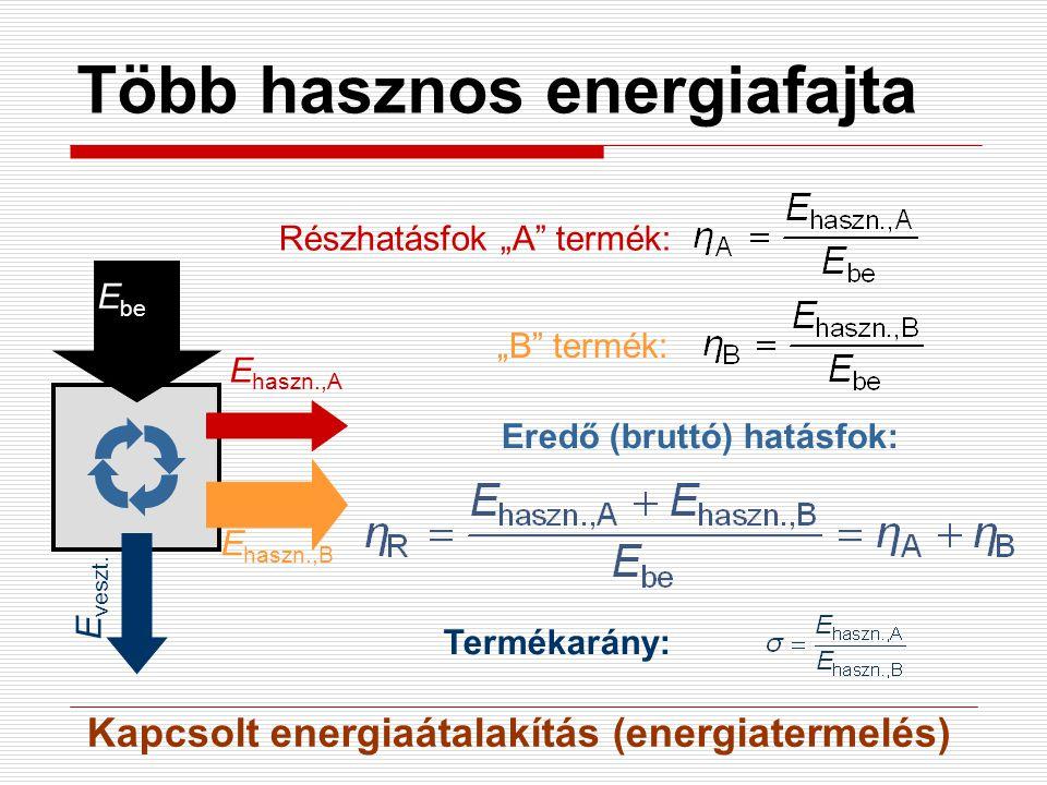 """Több hasznos energiafajta E be E veszt. E haszn.,A E haszn.,B Részhatásfok """"A"""" termék: """"B"""" termék: Eredő (bruttó) hatásfok: Termékarány: Kapcsolt ener"""