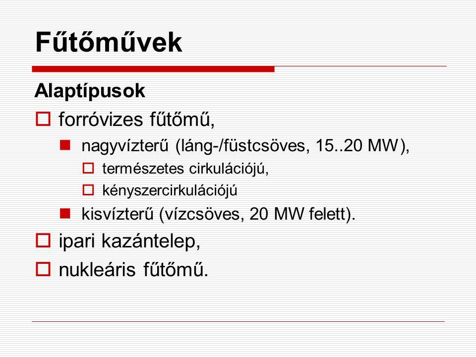 Fűtőművek Alaptípusok  forróvizes fűtőmű, nagyvízterű (láng-/füstcsöves, 15..20 MW),  természetes cirkulációjú,  kényszercirkulációjú kisvízterű (v