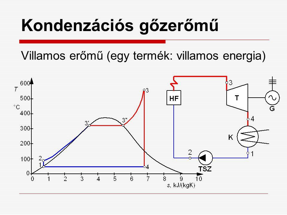 Kondenzációs gőzerőmű Villamos erőmű (egy termék: villamos energia)