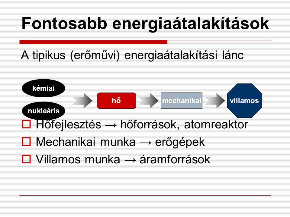 Fontosabb energiaátalakítások A tipikus (erőművi) energiaátalakítási lánc  Hőfejlesztés → hőforrások, atomreaktor  Mechanikai munka → erőgépek  Vil
