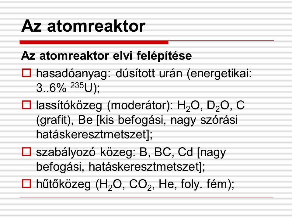 Az atomreaktor Az atomreaktor elvi felépítése  hasadóanyag: dúsított urán (energetikai: 3..6% 235 U);  lassítóközeg (moderátor): H 2 O, D 2 O, C (gr