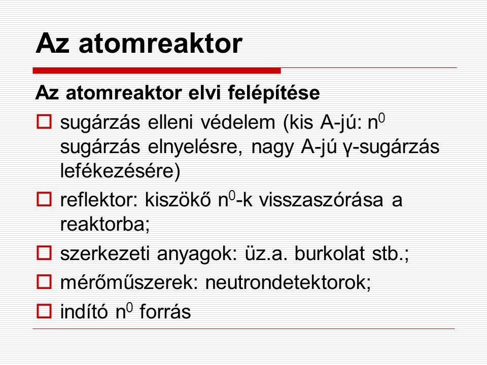 Az atomreaktor Az atomreaktor elvi felépítése  sugárzás elleni védelem (kis A-jú: n 0 sugárzás elnyelésre, nagy A-jú γ-sugárzás lefékezésére)  refle