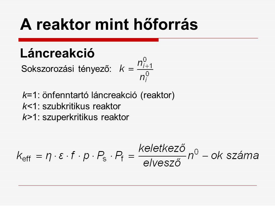 A reaktor mint hőforrás Láncreakció Sokszorozási tényező: k=1: önfenntartó láncreakció (reaktor) k<1: szubkritikus reaktor k>1: szuperkritikus reaktor